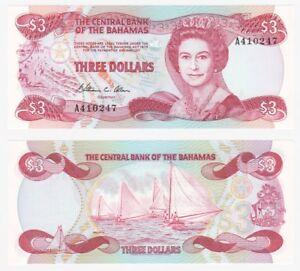 Bahamas 3 Dollars x 5 Pcs 1984 P-44a L.1974 Queen Elizabeth II Unc