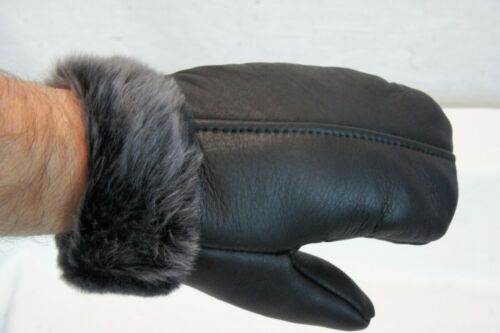 GRAY ASH S-2XL REAL GENUINE SHEEPSKIN SHEARLING LEATHER MITTENS UNISEX BLACK