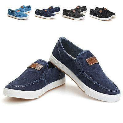 Men Driving Shoes Casual Travel Sneakers Slip On Flats Denim-washed New Loafers