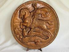 06C57 ANCIEN BOUCLIER SAINT GEORGES TERRASSANT LE DRAGON CUIVRE REPOUSSE SIGNE