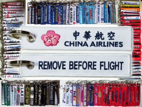 Keyring CHINA AIRLINES Lotus Flower Remove Before Flight keychain for Pilot Crew