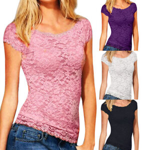 Women-Ladies-Casual-Short-Sleeve-Lace-Croceht-Blouse-Pullover-Tops-T-shirt-Vest