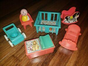 1972-vtg-Fisher-Price-Little-People-Lot-Nursery-Furniture-Baby-Blue-red-Set-761
