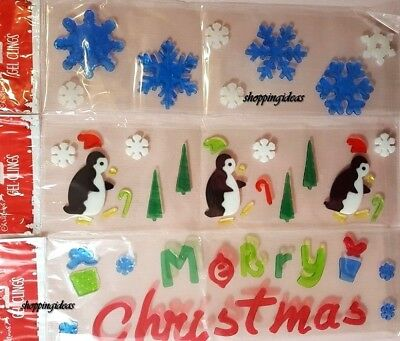 Christmas 3D GEL Window Clings Reusable Stickers Decorations Decal Scene Xmas