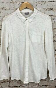 J-Jill-shirt-womens-medium-burnout-hidden-button-up-white-long-slv-top-Z3