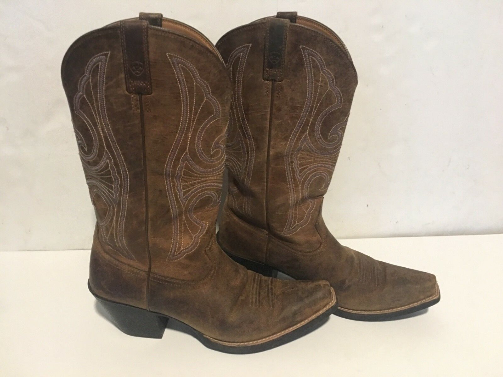 Ariat 10011953 Round Up D-toe 12  En Cuir Marron Stitch Cowgirl Cowboy bottes 10B