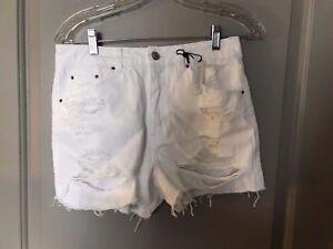 donna 10 denim taglia Us Nuovo donna Topshop Pantaloncini in 6 bianco Topshop RBq1WwaYx