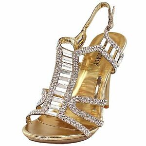 New-women-039-s-shoes-rhinestones-stilettos-buckle-closure-party-prom-wedding-Gold