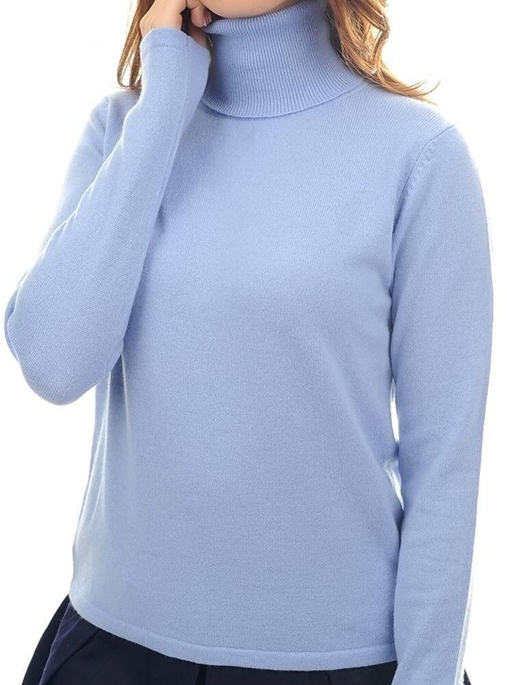 Balldiri 100% Cashmere Damen Pullover Rollkragen ohne Bündchen himmelblau XXL