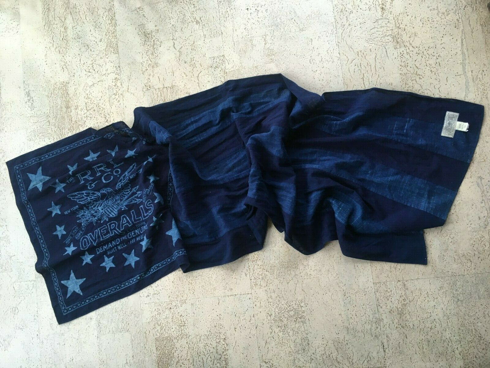 NICE! RRL Stars and Stripes Eagle Indigo Cotton Scarf