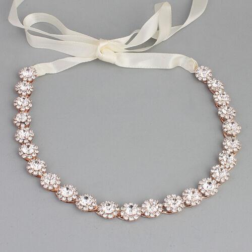 Wedding Bridal Round Rhinestone Crystal Headband Alloy Hair Band Ribbon Belt