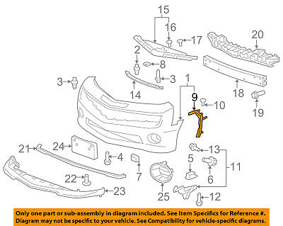 Chevrolet GM OEM Camaro Front Bumper Grille Grill-Outer Bracket Right 92243313