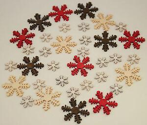 Das Bild Wird Geladen 35 X Deko Schneeflocken Holz Weihnachtsdeko Basteln  Streuteile