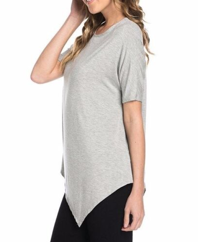USA Women Round Neck Asymmetrical Hem Tunic Top Short Sleeve T-Shirt S M L XL