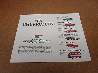 1975 Chevrolet FULL LINE Catalog Brochure Corvette,Camaro,Station Wagon,PickUp