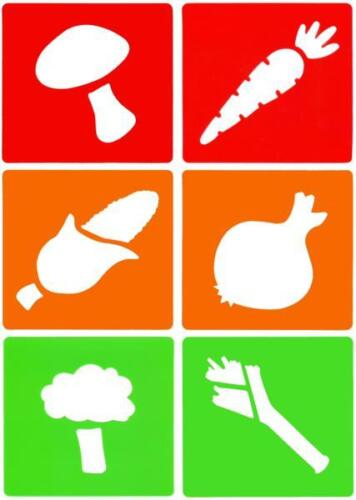 Vegetable Stencil Drawing Set 6 Piece 140mm x 160mm x Set of 6