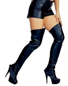 Black Thigh High Leather Look Boot Tops Covers for Catwoman ...