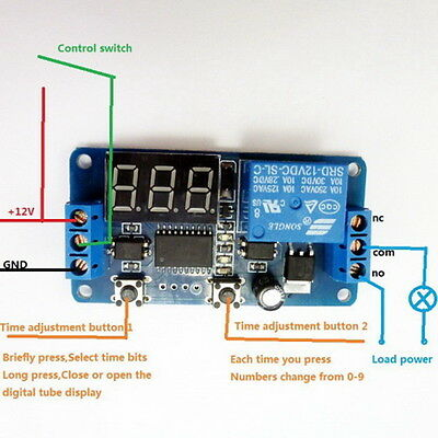 DC 12V Multifunction Self-lock Relay PLC Cycle Timer Module Delay Time Switch EN