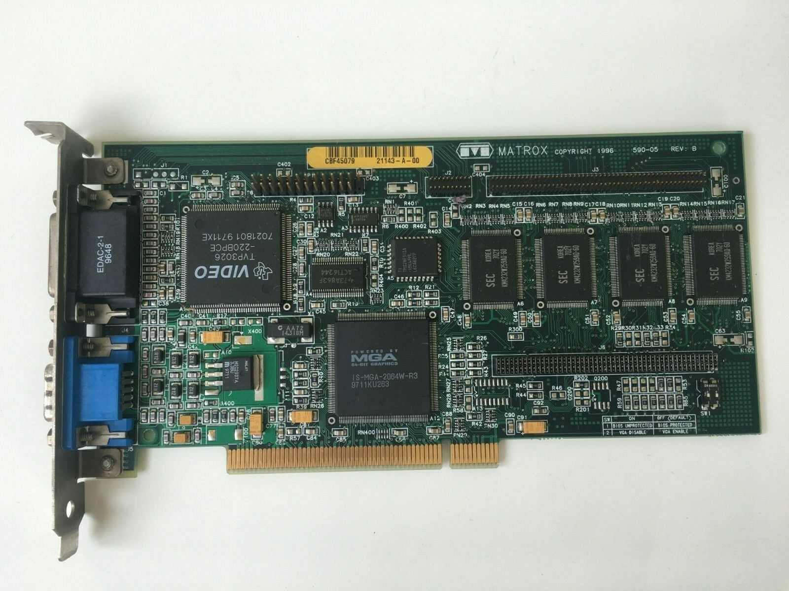 Matrox 590-05 Rev. B  Video Board MGA-MIL 4N