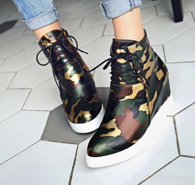 Fashion Women High Top Ankle Boots Girl Hidden Camouflage Wedge Heel Punk shoes