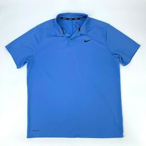 Nike-Golf-Polo-Shirt-Men-039-s-Size-XL-Blue-Short-Sleeve-Dri-Fit-Athletic-Sports-Tee