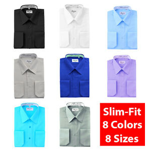 Berlioni-Italy-Slim-Fit-Solid-Mens-Dress-Shirt-Modern-Fitted-8-Colors-8-Sizes