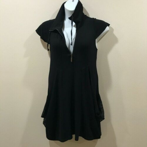 Philosophy black dress mesh pockets edgy