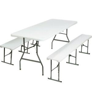 Table pliante portable 180 cm et 2 bancs pliables pour camping buffet