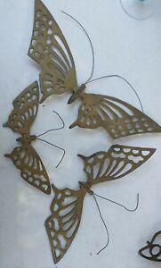 """Vintage 70's-80's Laiton Massif Papillon TENTURES MURALES Décor Lot de 3 13"""" 10"""" 8"""""""