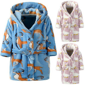 Baby Kids Boys Girls Flannel Pajamas Hooded Bath Robe Sleepwear ... cd7e97618