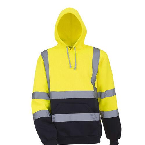 Hi Viz Vis Visibility Reflective Hooded Work Fleece Pullover Sweatshirt Top Coat