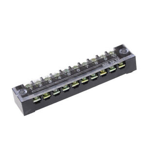 600V 15A 10 Positions Dual Rows Covered Barrier Screw Terminal Block Strip WF PL