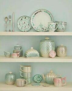 White-Green-Mermaid-Kitchen-Butterdish-Teapot-Cookie-Jar-Canister-Wine-Glasses