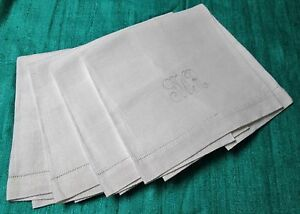 Antique 4 Nubby Linen Towels J W R Monograms Diamond Texture Hemstitched