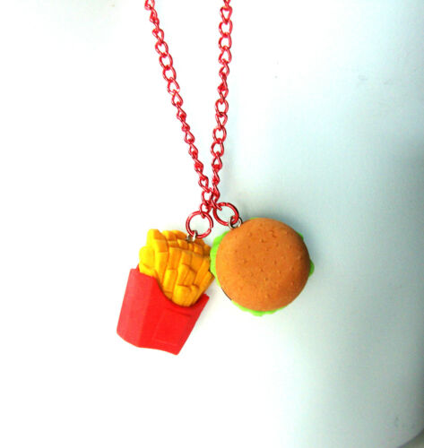 UNIQUE RED//ORANGE BURGER FRIES NECKLACE GREAT PARTY FESTIVE WEAR BRAND NEW A1