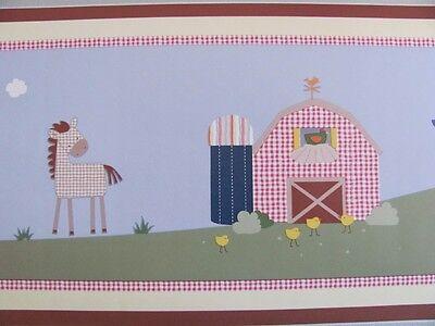 Kidsline Barnyard Wall BORDER farm animal barn yard cow horse lamb rooster NEW