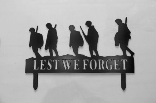 Lest We Forget Marching Soldiers garden plaque made in the UK made to last 60cm.