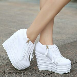 Womens-Punk-Ankle-Boots-High-Platform-Wedge-Heel-Tassel-Side-Zip-Shoes-Sz-HK-0-1