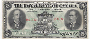 1913-Royal-Bank-of-Canada-5-Large-Size-Chartered-Banknote-SALE