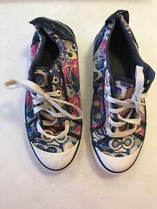 ac737640d23 COACH Barrett Pop C Gaser Graffiti Purple Gold Sneakers Size 10B