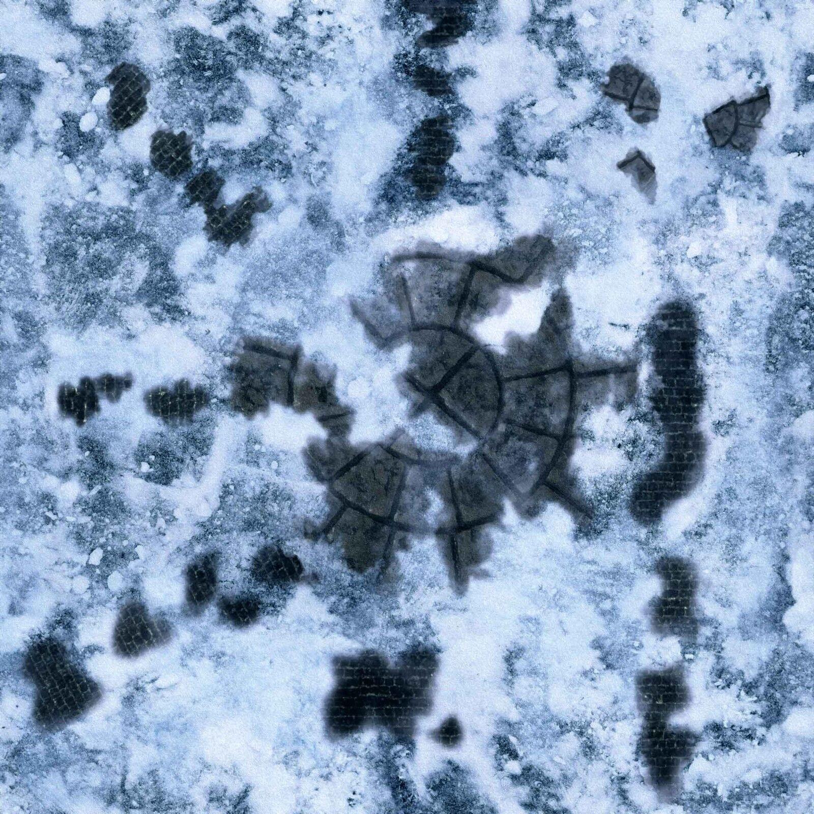Ideal for Frostgrave, Malifaux, Mordheim, D&D, 40K 3'x3' PVC Frozen City Mat