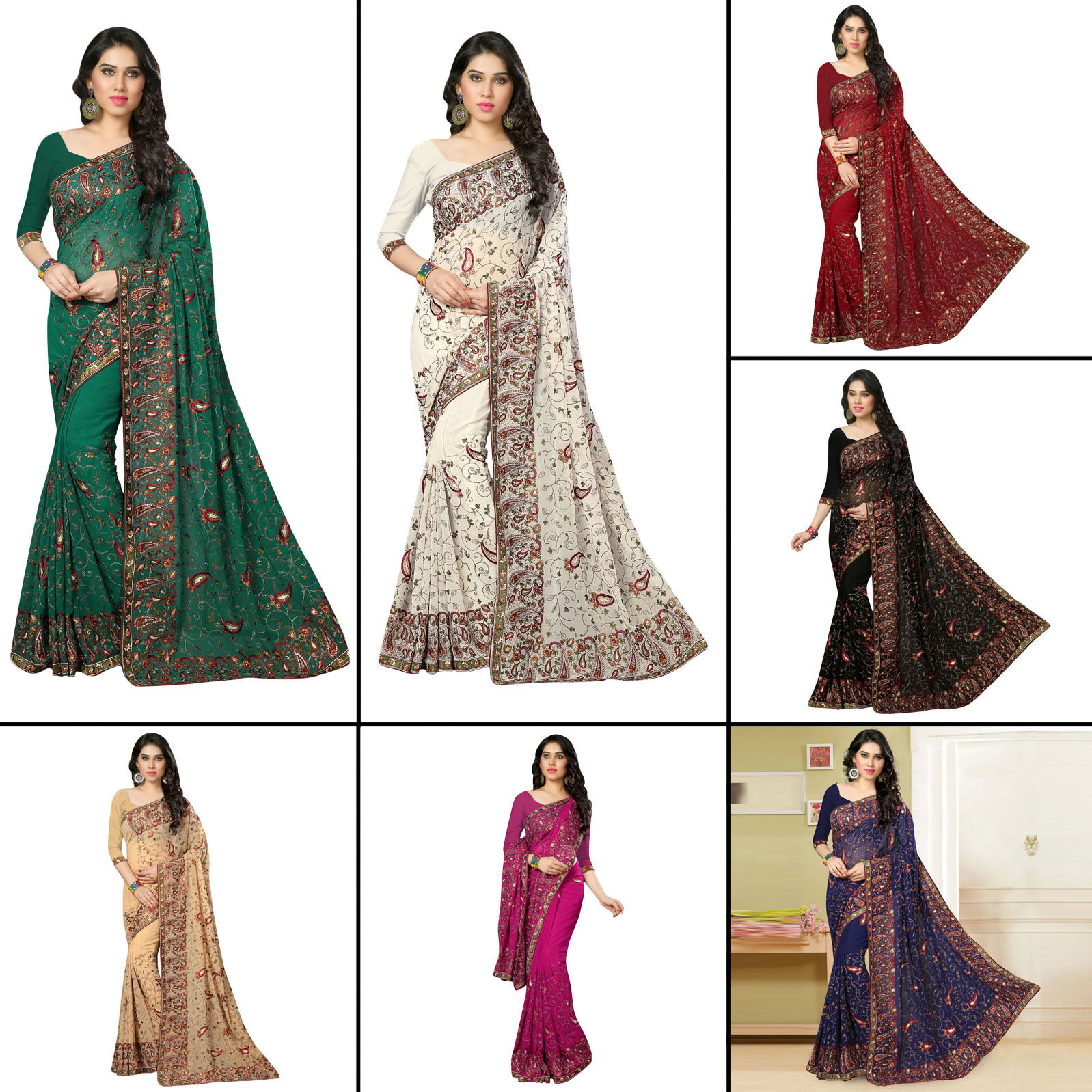 Frauenpartei Bollywood bestickt schwarz Sari Saree mit gelöste Bluse tragen