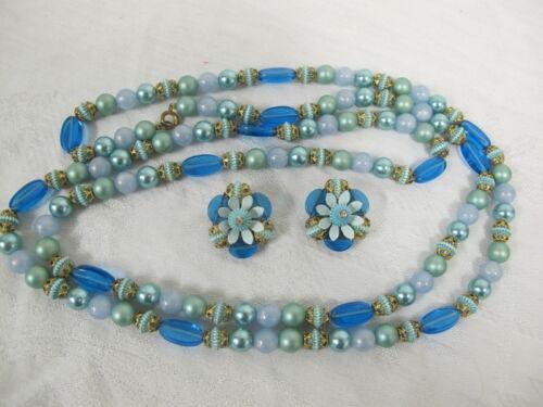 Stylish Aqua Blue Beaded Brooch /& Earrings Set c 1970