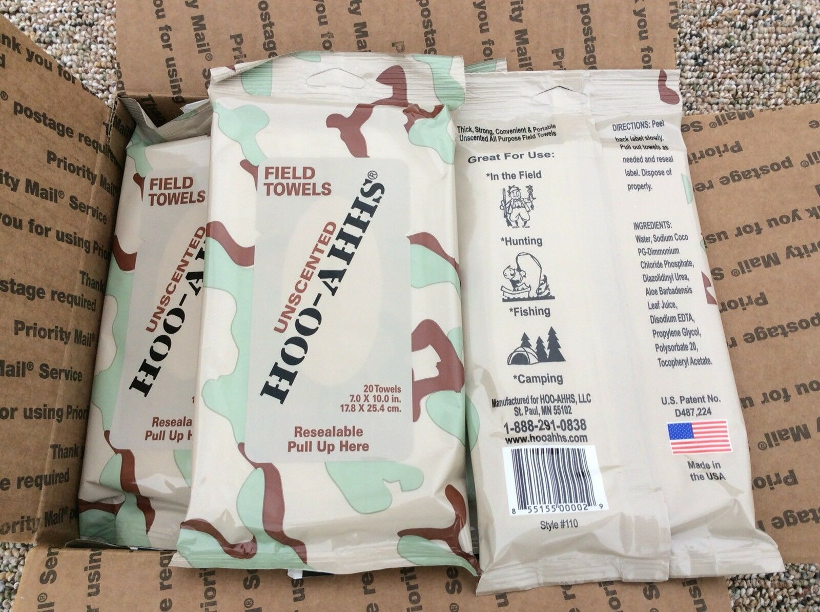 (20pk) Hoo-Ahhs Unscented Field Wipes -Towels-Hunting-Fishing- Military Tested