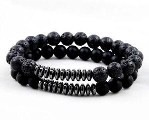 4b703e27d4b UK Men Ladies Lava Rock Onyx Natural Stone Crystal Bead Bracelet ...