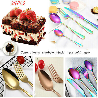 4-24 Piece Stainless Steel Flatware Set Dining Colorful Iridescent Cutlery Sets