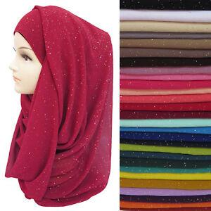 Shimmer-Sparkle-Gold-Glitters-Plain-Chiffon-Muslim-Hijab-Scarf-Shawl-Head-Wrap
