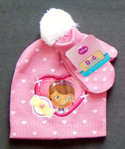 DOC McSTUFFINS DISNEY Toddlers Pink Knit Winter Beanies Hat /&Mittens Set NWT $20