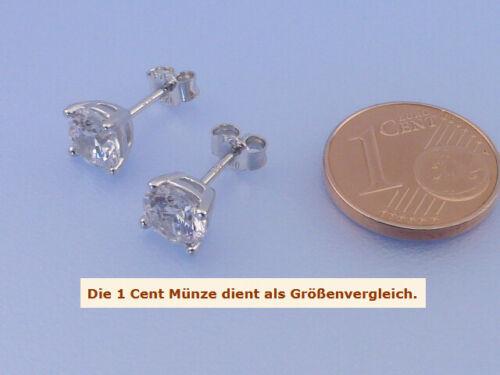 Echt 925 Silber Ohrstecker mit Zirkonia in 6 mm weiß rund im Diamantschliff Paar