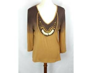 Kyra-Womens-Shirt-Size-Large-Two-Tone-Brown-Copper-Beaded-Design-3-4-Sleeve